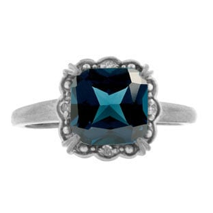 Diamond Cushion Cut London Blue Topaz Gemstone White Gold Ring by Gemologica