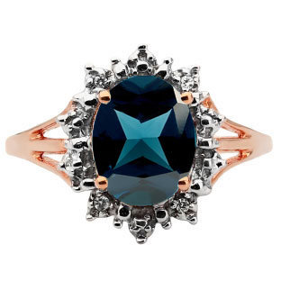Diamond Oval London Blue Topaz Gemstone Rose Gold Starburst Ring by Gemologica
