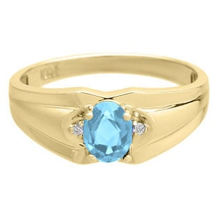 Mens Ring With Oval Cut Blue Topaz Stone and Diamonds In Yellow Gold