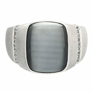 Rectangular Grey Cats Eye and Diamond Men's Sterling Silver Ring by Gemologica
