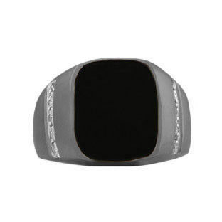 Rectangular Black Onyx and Diamond Men's Black Gold Ring by Gemologica