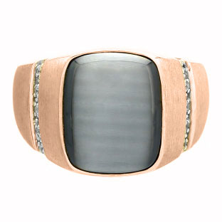 Rectangular Grey Cats Eye and Diamond Men's Rose Gold Ring by Gemologica