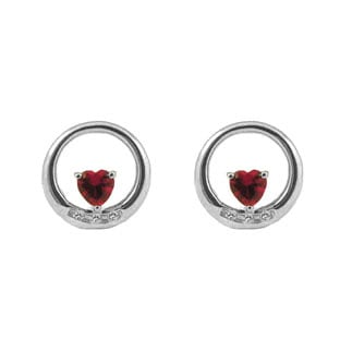 Custom Birthstone Heart of Your Choice Diamond Circle Earrings In White Gold