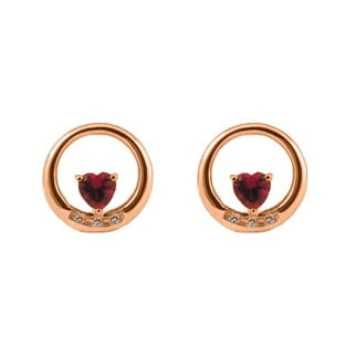 Custom Birthstone Heart of Your Choice Diamond Circle Earrings In Rose Gold
