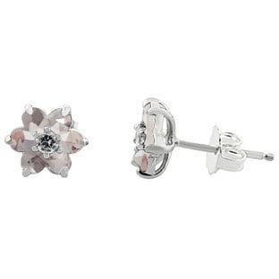 Morganite Gemstone Diamond Flower Stud Earrings In Sterling Silver By Gemologica
