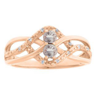 Diamond 2-Stone Morganite October Birthstone Infinity Ring In Rose Gold