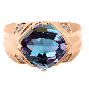 Large Diamond and Rose Gold Men's Alexandrite Ring By Gemologica