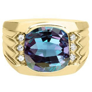 Large Men's Cushion Cut Alexandrite Diamond Yellow Gold Ring by Gemologica