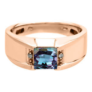 Diamond and Square Alexandrite Men's Rose Gold Ring By Gemologica