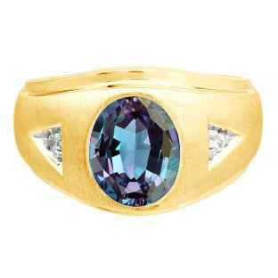 Diamond and Oval Alexandrite Gemstone Men's Yellow Gold Ring By Gemologica