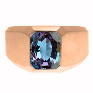 EmeraldCut Alexandrite Stone Custom Ring For Men In Rose Gold By