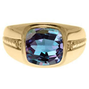 Cushion-Cut Alexandrite Gemstone Diamond Men's Ring In Yellow Gold By Gemologica