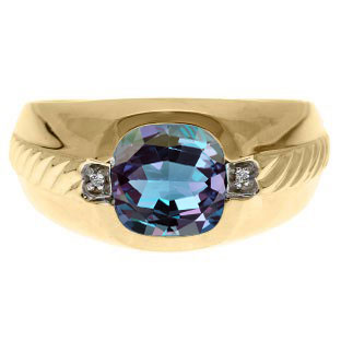 Men's Alexandrite and Diamond Accent Ring In Yellow Gold By Gemologica