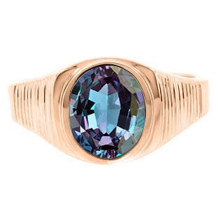 Men's Oval-Cut Alexandrite Gemstone Simple Rose Gold Ring By Gemologica