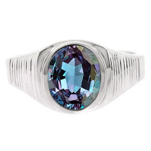Men's Oval-Cut Alexandrite Gemstone Simple Sterling Silver Ring By Gemologica