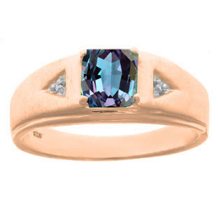 Diamond and Princess Cut Alexandrite Mens Ring In Rose Gold By Gemologica