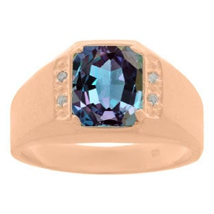 Rose Gold and Diamond Men's Alexandrite Octagon Cut Ring By Gemologica