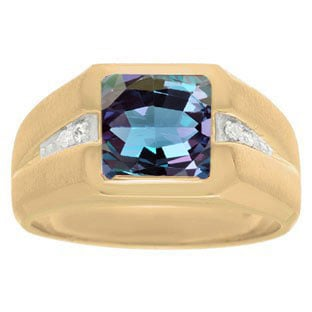 Diamond and Yellow Gold Men's Square Cut Alexandrite Ring By Gemologica