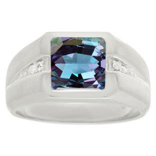 Diamond and Sterling Silver Men's Square Cut Alexandrite Ring By Gemologica