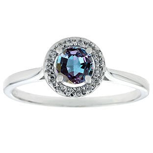 Halo Jewelry - Alexandrite Birthstone Diamond Halo Ring In Sterling Silver