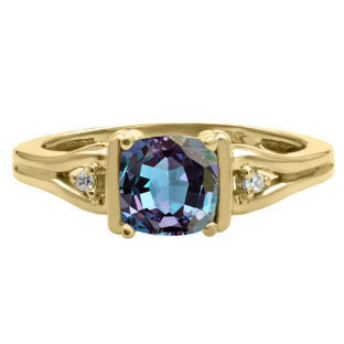 Simple Cushion Alexandrite Stone Diamond Yellow Gold Ring by Gemologica