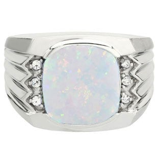 Large Men's Cushion Cut Opal Diamond Silver Ring By Gemologica Jewelry