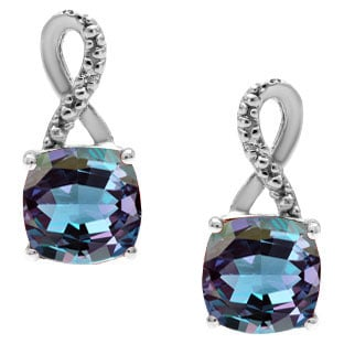Silver Cushion-Cut Alexandrite Stone Diamond Drop Earrings By Gemologica