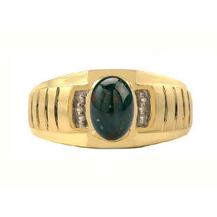 Diamond and Bloodstone Yellow Gold Ring For Men