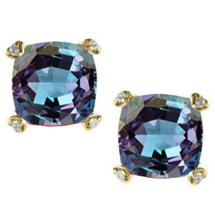 Cushion Alexandrite Diamond Yellow Gold Simple Earrings By Gemologica Jewelry