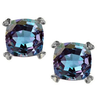 Cushion Alexandrite Diamond Black Gold Simple Earrings By Gemologica Jewelry