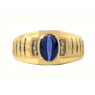 Diamond and Midnight Blue Cat Eye Yellow Gold Ring For Men
