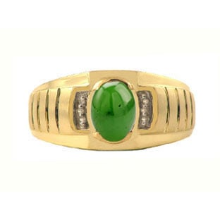 Diamond and Jade Yellow Gold Ring For Men