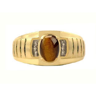 Diamond and Tiger Eye Yellow Gold Ring For Men