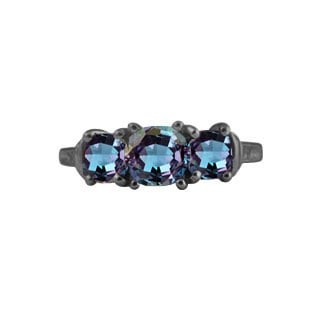 Alexandrite Gemstone Black Gold Diamond Three Stone Ring By Gemologica
