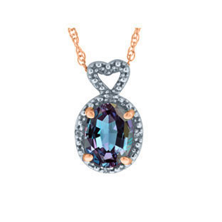 Diamond Oval Alexandrite Gemstone Rose Gold Pendant by Gemologica