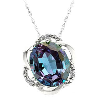 Bold Oval Cut Alexandrite Gemstone Diamond White Gold Pendant by Gemologica