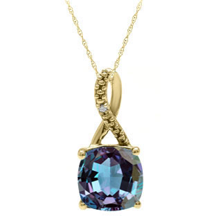 Yellow Gold Cushion-Cut Alexandrite Birthstone Diamond Pendant By Gemologica