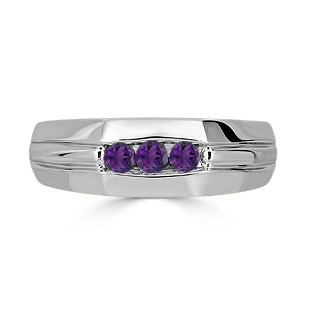 Amethyst Mens Ring - Men's 3 Stone Amethyst Ring In Sterling Silver