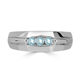 Aquamarine Mens Ring - Men's 3 Stone Aquamarine Ring In Sterling Silver