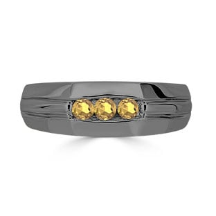 Citrine Mens Ring - Men's 3 Stone Citrine Ring In Black Gold