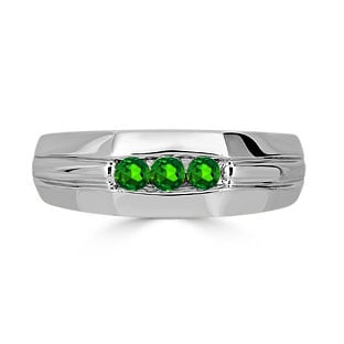 Emerald Mens Ring - Men's 3 Stone Emerald Ring In White Gold