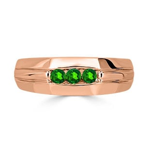 Emerald Mens Ring - Men's 3 Stone Emerald Ring In Rose Gold