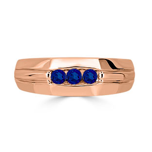Sapphire Mens Ring - Men's 3 Stone Sapphire Ring In Rose Gold
