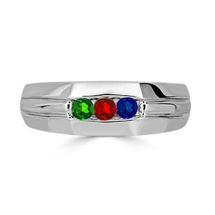Gemstone Mens Personalized Ring - Men's 3 Stone Gemstone Ring In Sterling Silver