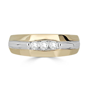 Diamond Mens Ring - Men's 3 Stone 1/4CT Diamond Ring In Two Tone Gold