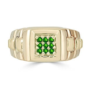 Emerald Men's Ring - Mens 9 Stone Emerald Ring In Yellow Gold