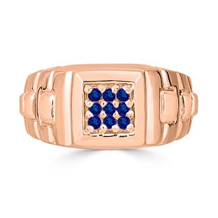 Sapphire Men's Ring - Mens 9 Stone Sapphire Ring In Rose Gold