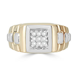 Diamond Men's Ring - Mens 9 Stone 1/4CT Diamond Ring In Two Tone Gold