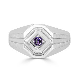 Alexandrite Men's Ring - Mens Solitaire Alexandrite Ring In White Gold