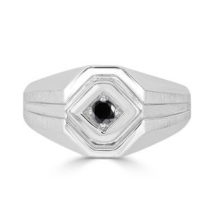 Black Diamond Men's Ring - Mens Solitaire 1/6CT Diamond Ring In White Gold